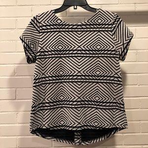 Lucky Brand S/S Black & White Blouse, Medium